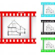 Stock Vector: Blueprint of house on film background