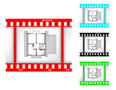 Blueprint of house on film background — Stock Vector