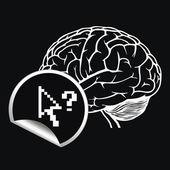 Piksel imleç bir iz ile beyin — Stok Vektör