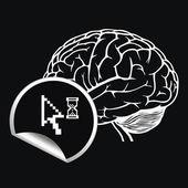 Cerveau avec signe de curseur pixel — Vecteur