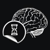 Hjärnan med tecken på pixel markören — Stockvektor