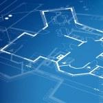 Home plan blueprint background. vector illustration — Stock Vector #34909921