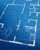 家の計画の青写真の背景。ベクトル イラスト — ストックベクタ