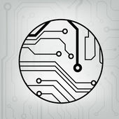 EPS10 vector black and gray circuit circle ball background — Stock Vector