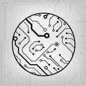 Eps10 vector noir et gris circuit fond ball cercle — Vecteur