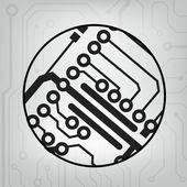 Fondo de pelota círculo del circuito eps10 vector negro y gris — Vector de stock