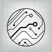 EPS10 vector black and gray circuit circle ball background — Stockvektor