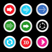 Simple icon set of arrows on buttons in different colors in modern style. eps10 vector illustration — Stock Vector