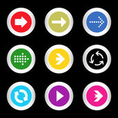 Simple icon set of arrows on buttons in different colors in modern style. eps10 vector illustration — Stockvector