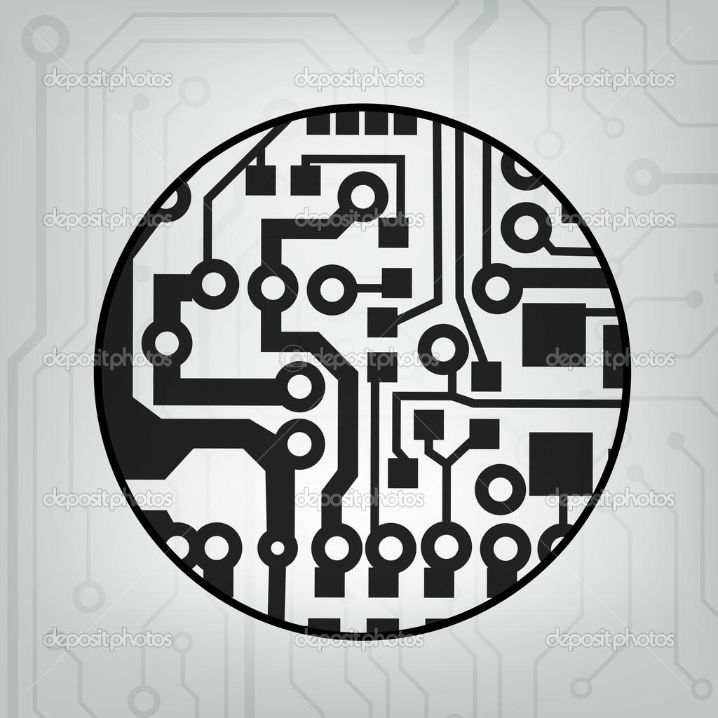 eps10 矢量黑色和灰色电路圈球背景