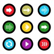 Stock Vector: Arrow sign icon set in circle shape internet button on black background. EPS10 vector illustration web elements
