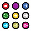 Arrow sign icon set in circle shape internet button on black background. EPS10 vector illustration web elements — Stock Vector #40130885