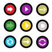 Arrow sign icon set in circle shape internet button on black background. EPS10 vector illustration web elements — Vector de stock