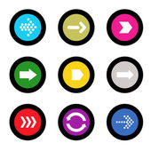 Arrow sign icon set in circle shape internet button on black background. EPS10 vector illustration web elements — Stock Vector