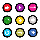 Arrow sign icon set in circle shape internet button on black background. EPS10 vector illustration web elements — Stock vektor