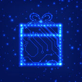 EPS10 circuit board christmas gift box background — Vector de stock