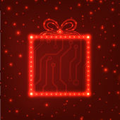 Eps10 circuit bord christmas gift vak achtergrond — Stockvector