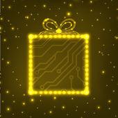 EPS10 circuit board christmas gift box background — Stock Vector