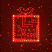 EPS10 circuit board christmas gift box background — Stockvector