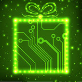 EPS10 circuit board christmas gift box background — Stock Vector