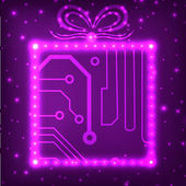 EPS10 circuit board christmas gift box background — Vettoriale Stock