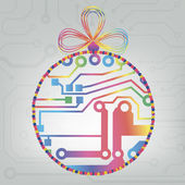 EPS10 vector circuit board ball christmas background texture — 图库矢量图片