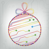 EPS10 vector circuit board ball christmas background texture — Vector de stock
