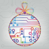 EPS10 vector circuit board ball christmas background texture — Stock vektor