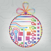 EPS10 vector circuit board ball christmas background texture — Vecteur