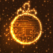 EPS10 vector circuit board ball christmas background texture — Stockvektor