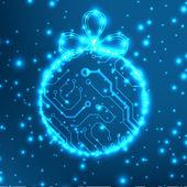 EPS10 vector circuit board ball christmas background texture — Stock Vector