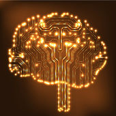 Circuit board computer style brain vector technology background. EPS10 illustration with abstract circuit brain — Vettoriale Stock