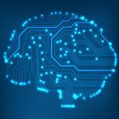 Circuit board computer stile cervello vettore tecnologia sfondo — Vettoriale Stock