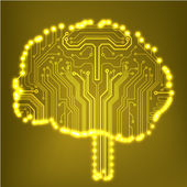 Circuit board computer style brain vector technology background — Vettoriale Stock