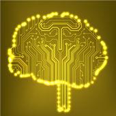 Circuit board computer style brain vector technology background — Vetor de Stock