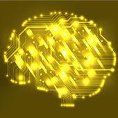 Kretskort dator stil hjärnan vektor teknik bakgrund — Stockvektor
