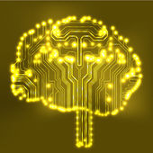 Circuit board computer style brain vector technology background. EPS10 illustration with abstract circuit brain — Stock Vector