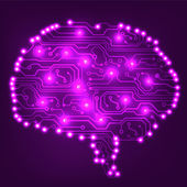 Circuit board computer style brain vector technology background. EPS10 illustration with abstract circuit brain — Stok Vektör