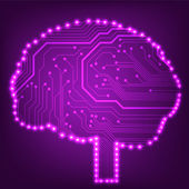 Placa de circuito de computador estilo cérebro tecnologia de fundo vector — Vetor de Stock
