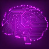 плат компьютера стиль мозга векторной технологии фона — Cтоковый вектор
