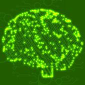 Circuit board computer style brain vector technology background — Stock vektor