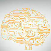Circuit board computer style brain vector technology background. EPS10 illustration with abstract circuit brain — Vecteur