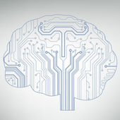 Circuit board computer style brain vector technology background — Stock Vector