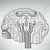 Circuit board computer style brain vector technology background — 图库矢量图片