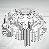 Circuit board computer style brain vector technology background — ストックベクタ