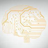 Kretskort dator stil hjärnan vektor teknik bakgrund. eps10 illustration med abstrakt krets hjärna — Stockvektor