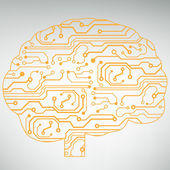 Fondo de tecnología de circuito ordenador estilo cerebro vector — Vector de stock