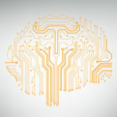 Circuit board computer style brain vector technology background. EPS10 illustration with abstract circuit brain — Vetorial Stock