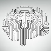 Circuit board computer style brain vector technology background — Stockvector