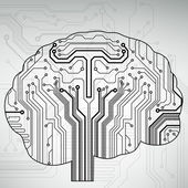 Circuit board computer style brain vector technology background — Stock vektor